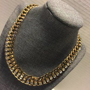 Jewelry - Goldtone/CZ Double Chain Woven Statement Necklace